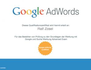 Qualifikationszertfikat Google AdWords