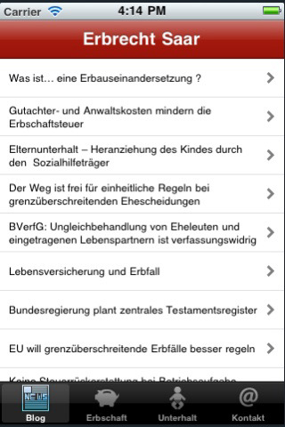 Blog zum Erbrecht / iPhone App